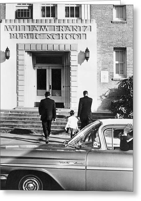 Civil Rights Movement Greeting Cards - New Orleans School Integration Greeting Card by Underwood Archives