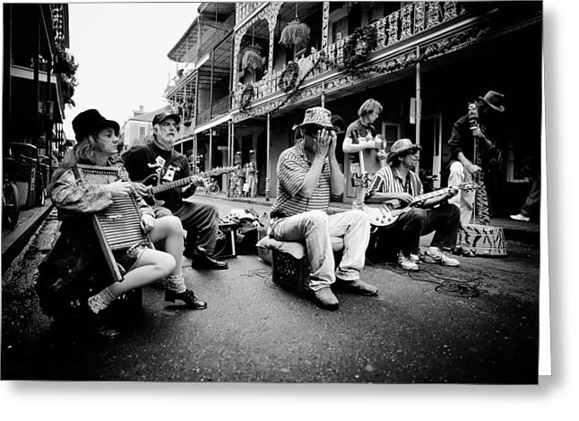 Analog Greeting Cards - New Orleans Street Musicians Greeting Card by Mountain Dreams