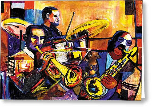Lino Mixed Media Greeting Cards - New Orleans Trio Greeting Card by Everett Spruill