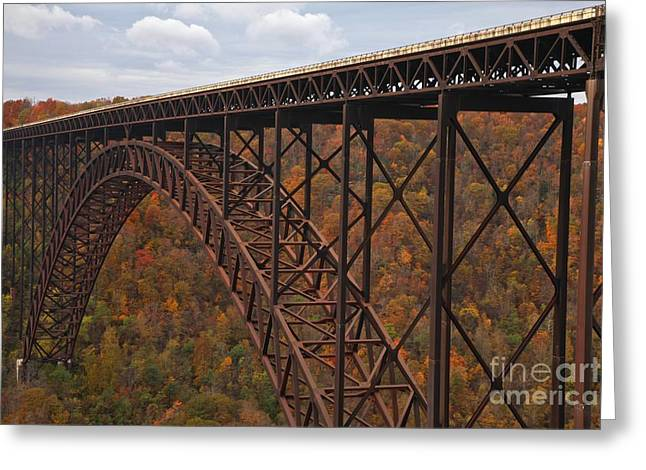 Famous Bridge Greeting Cards - New River Gorge Bridge Greeting Card by Adam Jewell