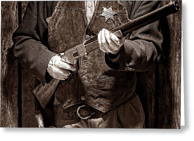 Law Enforcement Greeting Cards - New Sheriff in Town Greeting Card by American West Legend By Olivier Le Queinec