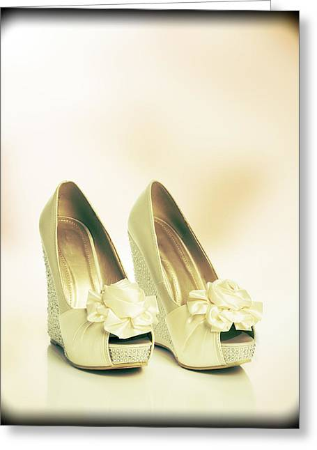 Wedding Photo Greeting Cards - New Wedding Sandals Greeting Card by Amanda And Christopher Elwell