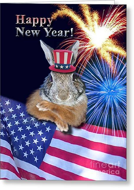 Wildlife Celebration Greeting Cards - New Years Bunny Rabbit Greeting Card by Jeanette K