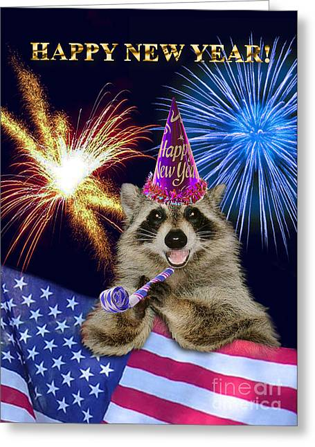 Wildlife Celebration Greeting Cards - New Years Raccoon Greeting Card by Jeanette K
