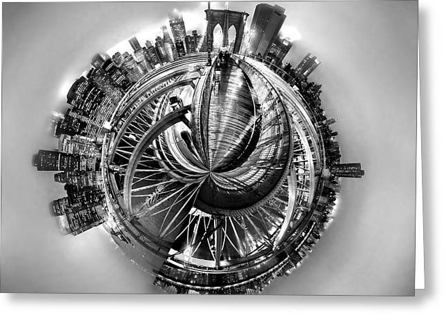 Famous Photographers Digital Greeting Cards - Manhattan World Greeting Card by Az Jackson