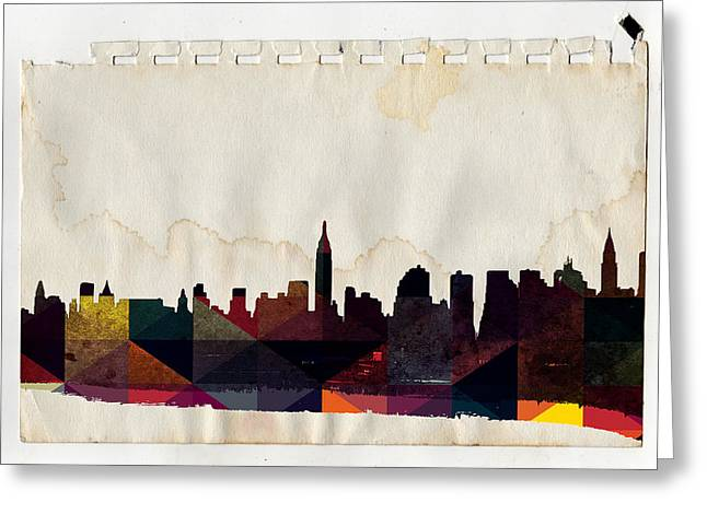 Brooklyn Bridge Mixed Media Greeting Cards - New York City Skyline Greeting Card by Celestial Images