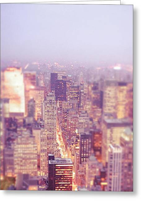New York City - Skyline Lights At Dusk Greeting Card by Vivienne Gucwa