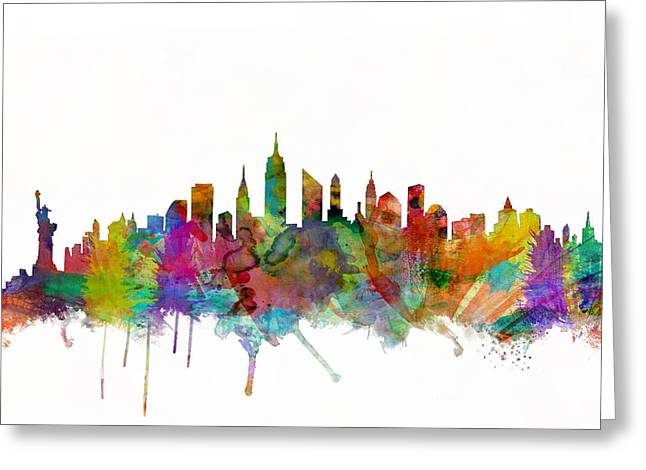 New York State Greeting Cards - New York City Skyline Greeting Card by Michael Tompsett