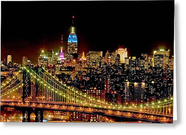City Lights Greeting Cards - New York City Skyline Greeting Card by Spencer Grant
