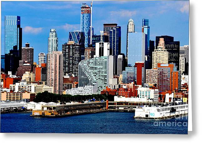 New Mind Greeting Cards - New York City Skyline with Mercedes House Greeting Card by Kathy Flood