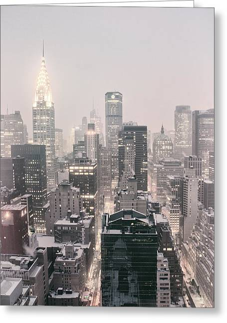 Wintry Greeting Cards - New York City - Snow Covered Skyline Greeting Card by Vivienne Gucwa