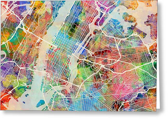 Times Square Digital Art Greeting Cards - New York City Street Map Greeting Card by Michael Tompsett