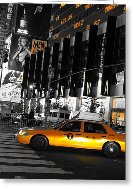 Music Time Greeting Cards - New York City Taxi Greeting Card by Dan Sproul
