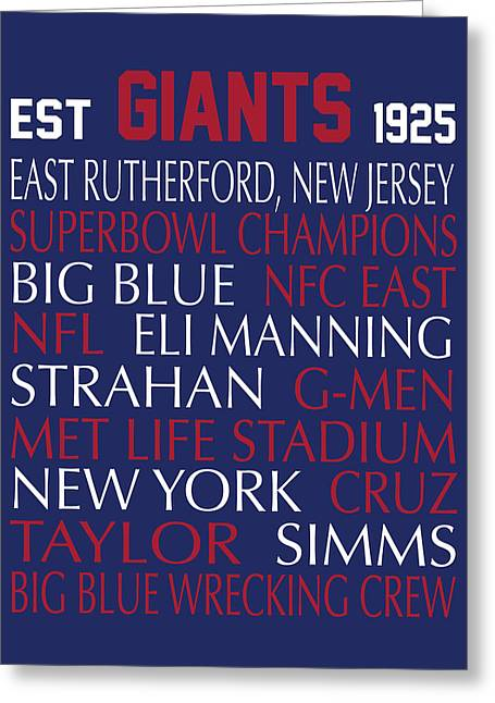 Football Words Greeting Cards - New York Giants Greeting Card by Jaime Friedman