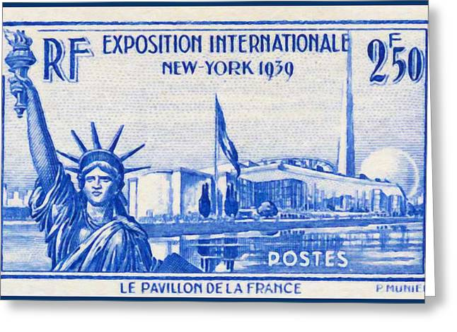 """""""france Poster"""" Greeting Cards - New York International Exhibition 1939 The Flag Of France Stamp Greeting Card by Lanjee Chee"""
