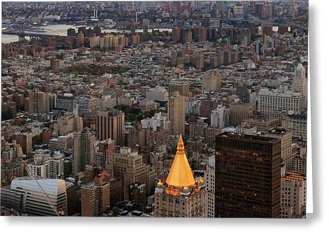 Triangular Greeting Cards - New York Manhattan Landscape Greeting Card by Marianna Mills