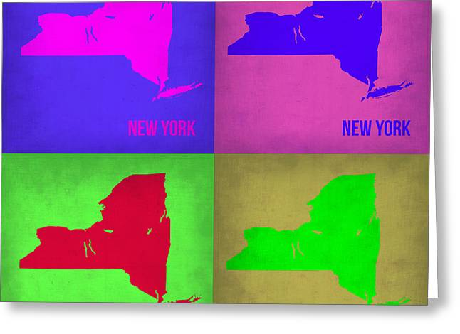 Nyc Art Greeting Cards - New York Pop Art Map 1 Greeting Card by Naxart Studio