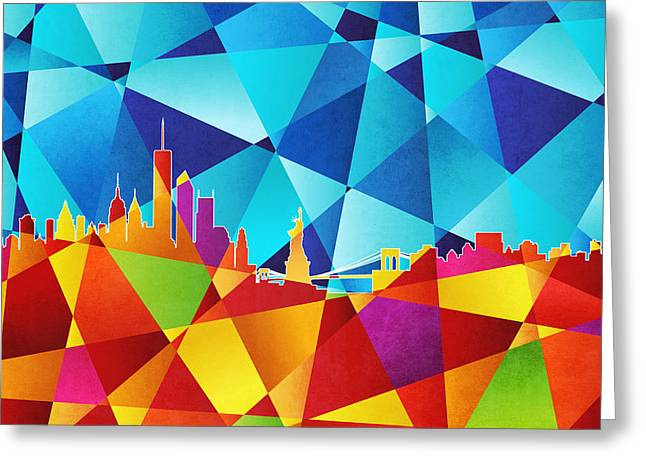 Abstract Geometric Digital Art Greeting Cards - New York Skyline Greeting Card by Michael Tompsett