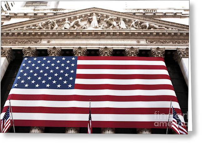 Patriotic Photography Greeting Cards - New York Stock Exchange Greeting Card by John Rizzuto