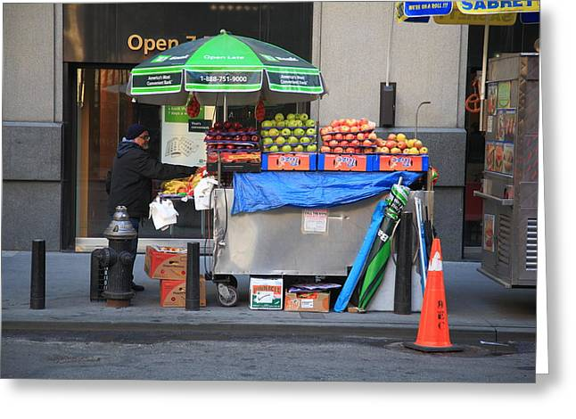 Apple Art Greeting Cards - New York Street Vendor Greeting Card by Frank Romeo