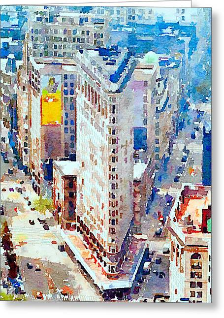 Live Art Greeting Cards - New York streets Greeting Card by Yury Malkov