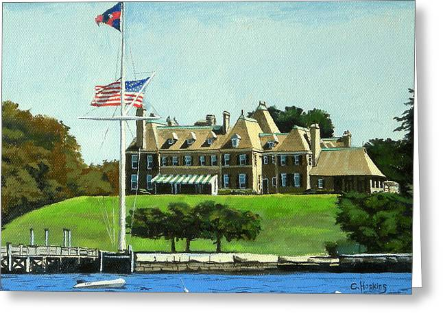 Hopkins Island Greeting Cards - New York Yacht Club Newport Rhode Island Greeting Card by Christine Hopkins
