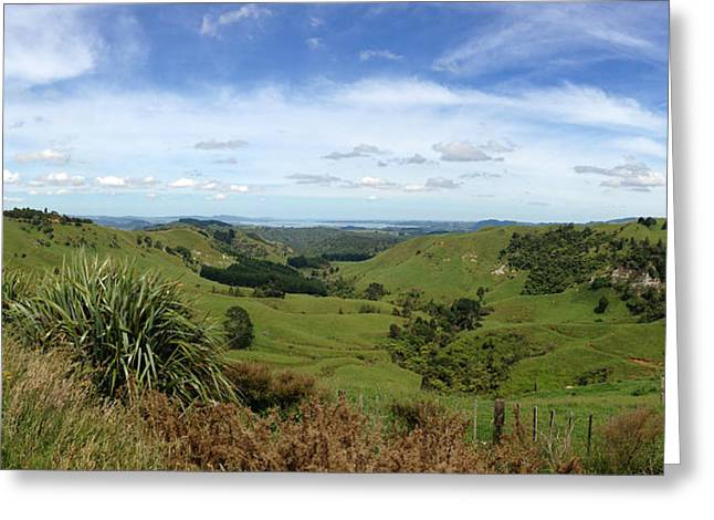 Color Green Greeting Cards - New Zealand scene Greeting Card by Les Cunliffe