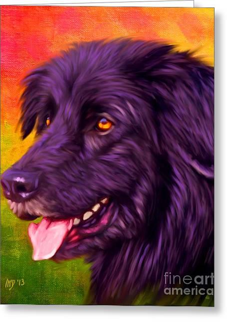 Newfoundland Puppy Greeting Cards - Newfoundland Pet Art Greeting Card by Iain McDonald