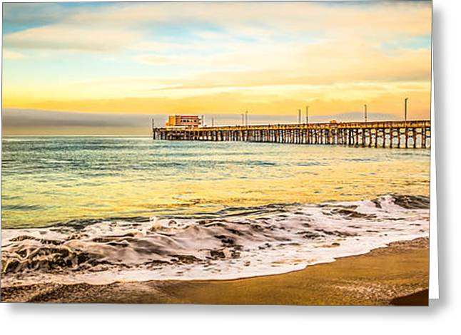 California Beach Art Greeting Cards - Newport Beach California Pier Panorama Photo Greeting Card by Paul Velgos