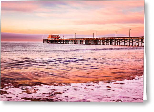 Ocean Art Photography Greeting Cards - Newport Beach Pier Sunset Panorama Photo Greeting Card by Paul Velgos