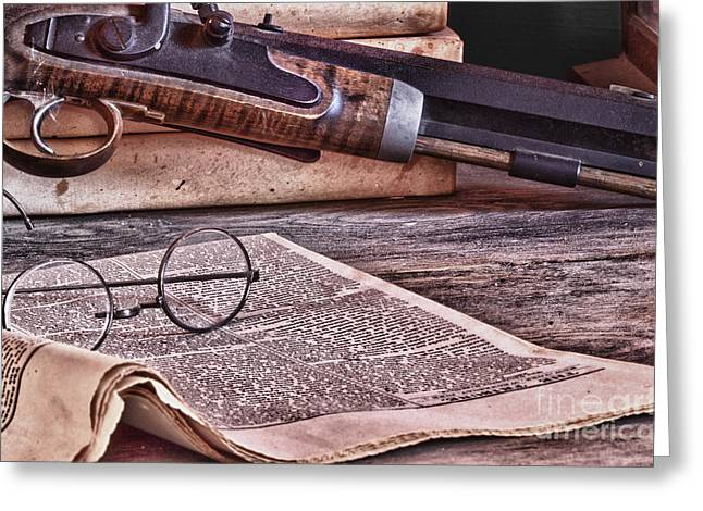 Gaines Greeting Cards - Newspaper Glasses and Pistol Greeting Card by Robert Gaines