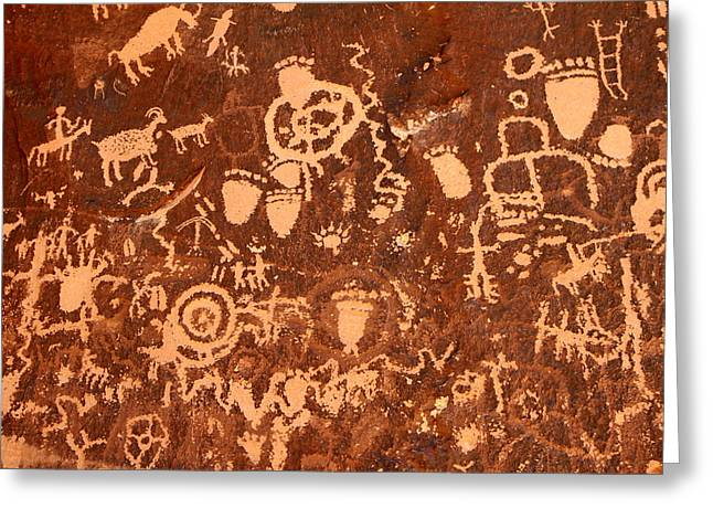 Newspaper Rock Sandstone Greeting Cards - Newspaper Rock Greeting Card by John Bell