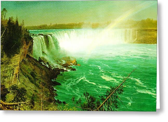 Bierstadt Digital Art Greeting Cards - Niagara Falls Greeting Card by Albert Bierstadt