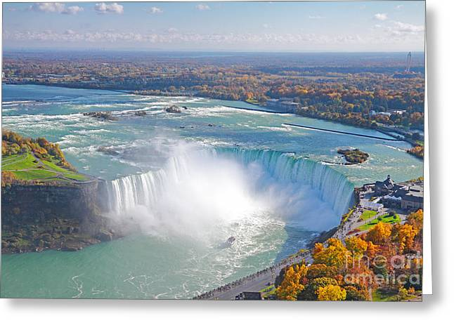 Boat Cruise Greeting Cards - Niagara Falls Autumn Greeting Card by Charline Xia