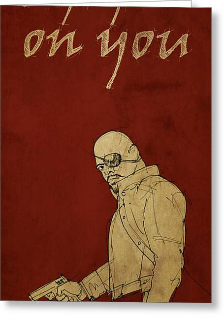 Avengers Drawings Greeting Cards - Nick Fury - The Avengers Greeting Card by Pablo Franchi