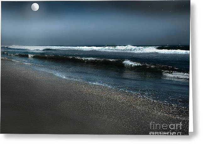 Best Sellers -  - Moonshine On The Beach Greeting Cards - Night Beach  Greeting Card by Artist and Photographer Laura Wrede