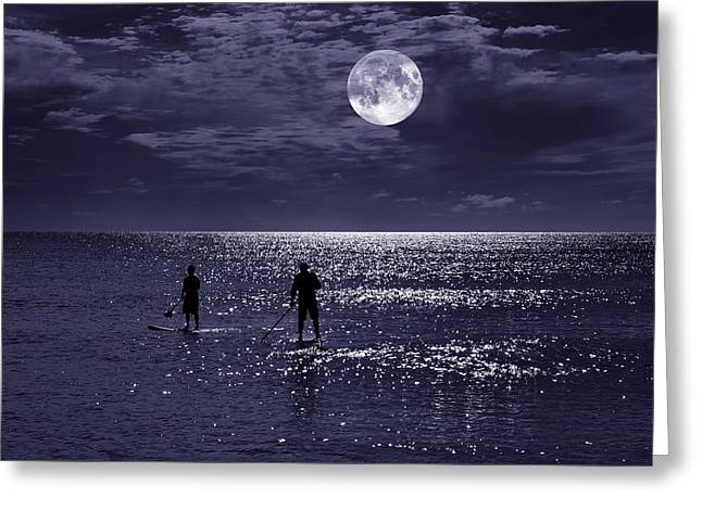 Night Boarders Greeting Card by Laura Fasulo