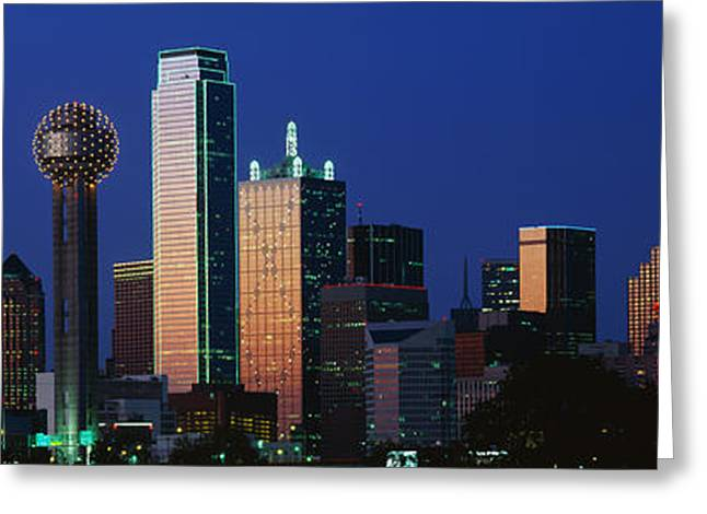 Lone Star State Greeting Cards - Night, Cityscape, Dallas, Texas, Usa Greeting Card by Panoramic Images