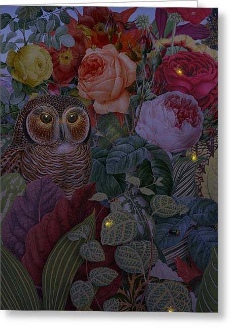 Antique Digital Art Greeting Cards - Night Garden Greeting Card by Gary Grayson