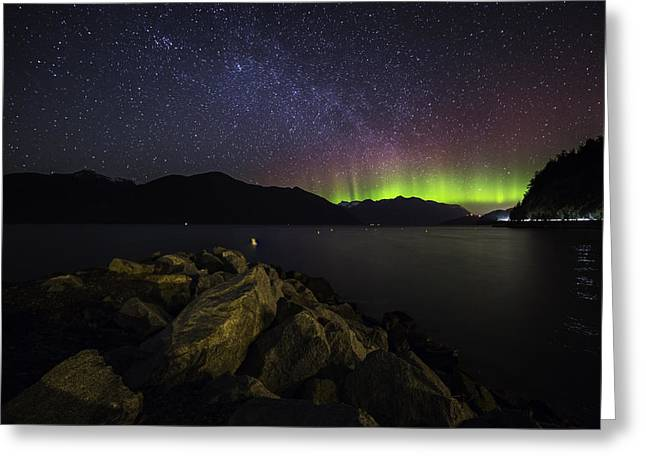 Porteau Cove Provincial Park Greeting Cards - Night Glow Greeting Card by Bun Lee