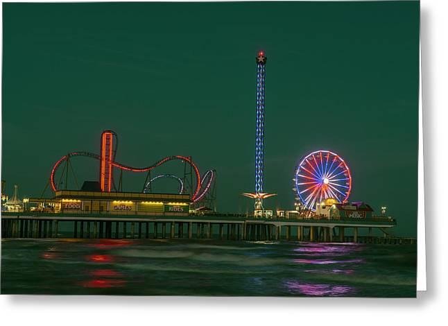 Galveston Greeting Cards - Night Lights of Pleasure Pier on Galveston Island Greeting Card by Mountain Dreams