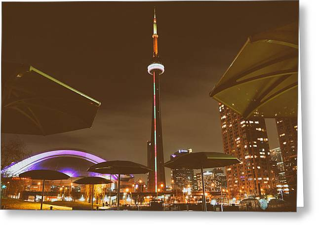 Cafe City Lights Greeting Cards - Night Lights of Torontos CN Tower Greeting Card by Mountain Dreams