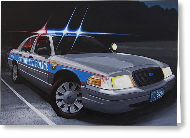 Police Cruiser Greeting Cards - Night Patrol Greeting Card by Robert VanNieuwenhuyze