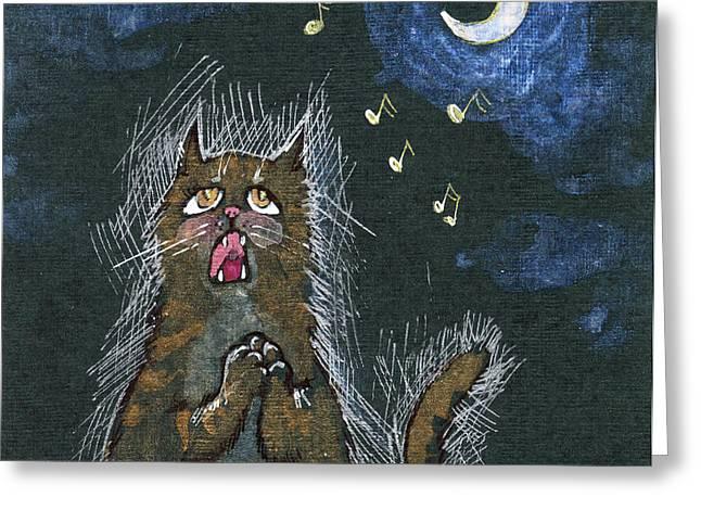 Cat Drawings Greeting Cards - Night Serenades Greeting Card by Angel  Tarantella