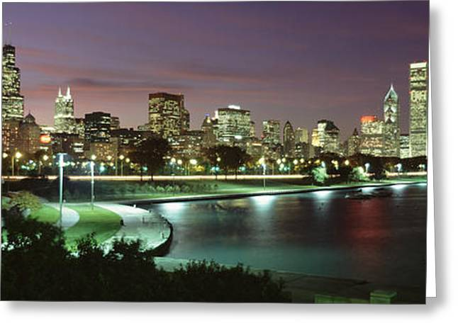 City Buildings Greeting Cards - Night Skyline Chicago Il Usa Greeting Card by Panoramic Images