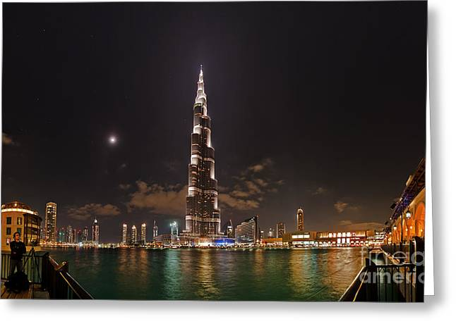 Light Pollution Greeting Cards - Night Skyline, Dubai, Uae Greeting Card by Babak Tafreshi