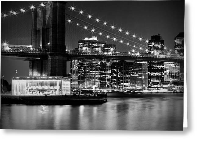 Evening Lights Greeting Cards - Night Skyline MANHATTAN Brooklyn Bridge bw Greeting Card by Melanie Viola