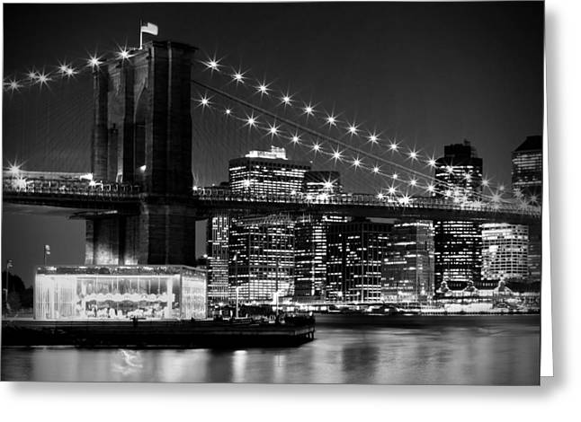 Evening Lights Digital Art Greeting Cards - Night Skyline MANHATTAN Brooklyn Bridge bw Greeting Card by Melanie Viola