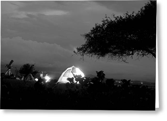Night time camp site Greeting Card by Kantilal Patel