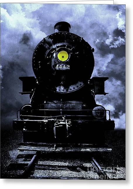 Railway Locomotive Greeting Cards - Night Train Essex Valley Railroad Greeting Card by Edward Fielding